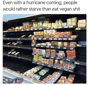 Shit, Vegan, and Hurricane: Even with a hurricane coming, people  would rather starve than eat vegan shit  Wesd Even with a hurricane coming