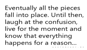 Fall, Live, and All The: Eventually all the pieces  fall into place. Until then,  laugh at the confusion,  live for the moment and  know that everything  happens for a reaso  n..  QUOTEDIARYM E