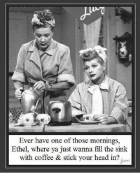 Who remembers I love Lucy?☕: Ever have one of those mornings,  Ethel, where ya just wanna fill the sink  with coffee & stick your head in? Who remembers I love Lucy?☕
