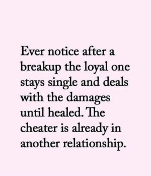 damages: Ever notice after a  breakup the loyal one  stays single and deals  with the damages  until healed. The  cheater is already in  another relationship