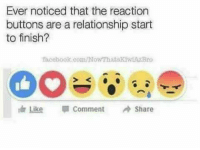 The only one missing is an eye roll emoji: Ever noticed that the reaction  buttons are a relationship start  to finish?  facebook.com/Now That skawiAZBro  Like Comment  Share The only one missing is an eye roll emoji