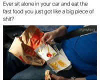 Dank Memes, Fastly, and Pieces-Of-Shits: Ever sit alone in your car and eat the  fast food you just got like a big piece of  shit?  drgrayfang Don't follow @fuckitimarobot if you're easily offended