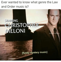 Memes, Music, and Law and Order: Ever wanted to know what genre the Law  and Order music is?  STAR  RING  CHRISTOPHE  ELONI  [funky mystery music] @memesvilleusa I always wanted to know