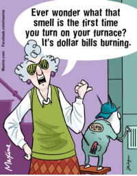 Ever wonder what that smell is the first time you turn on your furnace? It's dollar bills burning.: Ever wonder what that  smell is the first time  you turn on your furnace?  It's dollar bills burning.  FLOYD Ever wonder what that smell is the first time you turn on your furnace? It's dollar bills burning.