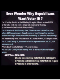 Anaconda, Facts, and I Bet: Ever Wonder Why Republicans  Want Voter ID ?  *In 59 voting districts in the Philadelphia region, Obama received 100%  of the votes-with not even a single vote recorded for Romney.  (A mathematical and statistical impossibility)  21 districts in Wood County Ohio, Obama received 100% of the votes  where GOP inspectors were illegally removed from their polling locations  and not one single vote was recorded for Romney. (A statistical impossibility)  *In Wood County Ohio, 106,258 voted in a county with 98,213 eligible voters.  치n St. Lucie County, FL, there were 175,574 registered voters but 247,713  votes were cast  *Palm Beach County, FL had a 1 41% voter turnout.  *In one Ohio County, Obama won by 108% of the total number of eligible  voters  NOW for a FUN FACT:  Obama won in every state that did not require  a Photo ID and lost in every state that did require  a Photo ID in order to vote. Ever Wonder Why Republicans Want Voter ID? here's some easily verifiable facts i bet you never knew