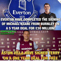Everton, Memes, and Free: Everton  1878  EVERTONHAVE GOMPLETED THE SIGNING  oF MICHAEMKEANE FROM BURNLEY ON  A 5 YEAR DEAL FOR £30 MILLION  SEA 017/18  3  0  000OG0  ASTON VILLA HAVE SIGNED TERRY  ON A ONE YEAR DEAL FOR FREE  ON A ONE YEAR DEAL FOR FREE 2 New transfers!🔥 Follow @memesofootball