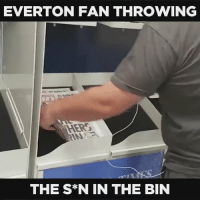 This Everton fan throwing all The Sun newspapers in the bin at Glasgow airport! 👏👏👏👏: EVERTON FAN THROWING  THE S*N IN THE BIN This Everton fan throwing all The Sun newspapers in the bin at Glasgow airport! 👏👏👏👏