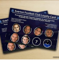 Everton, Memes, and 🤖: Everton Football Club Loyalty Card  Acamate orr or Everton layersatyour new club  qualify for a free player of your choice  Nane David weaam Moyes  ab Sunderland AFC  Does Zy04/1993  Does 23/07/2016  Cursorner ss21 ss38  5121 SS38  Everton: 2002-2015  EV  Accus  coa. 25/  7  ODDS Just one more needed for David Moyes!