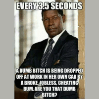 dumb bitch: EVERY 3:5 SECONDS  A DUMB BITCH IS BEING DROPPED  OFF AT WORK IN HER OWN CAR BY  A BROKE JOBLESS, CHEATING  BUM. AREYOU THAT DUMB  BITCH?