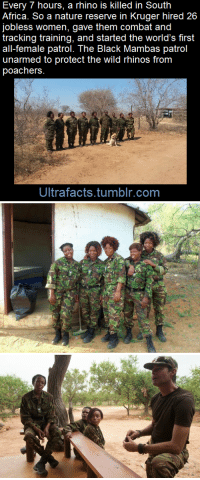 ever-hungry-aria:  ultrafacts:  youreekofhavoc:  jiggymonster161:  ultrafacts:    In a bid to engage communities outside the park fence,a reserve hired 26 local jobless female high-school graduates, and put them through an intensive tracking and combat training programme. Kitted out in second-hand European military uniforms, paid for by donations, the women were deployed throughout a 40,000 hectare reserve.   The numbers suggest the approach works. In the last 10 months the reserve has not lost a rhino, while a neighbouring reserve lost 23. Snare poaching has dropped 90%. [x]   (Fact Source) For more facts, follow Ultrafacts     YEEEEESSSSSSSS  This is amazing     Precious ladies!! : Every 7 hours, a rhino is killed in South  Africa. So a nature reserve in Kruger hired 26  jobless women, gave them combat and  tracking training, and started the world's first  all-female patrol. The Black Mambas patrol  unarmed to protect the wild rhinos from  poachers  Ultrafacts.tumblr.com ever-hungry-aria:  ultrafacts:  youreekofhavoc:  jiggymonster161:  ultrafacts:    In a bid to engage communities outside the park fence,a reserve hired 26 local jobless female high-school graduates, and put them through an intensive tracking and combat training programme. Kitted out in second-hand European military uniforms, paid for by donations, the women were deployed throughout a 40,000 hectare reserve.   The numbers suggest the approach works. In the last 10 months the reserve has not lost a rhino, while a neighbouring reserve lost 23. Snare poaching has dropped 90%. [x]   (Fact Source) For more facts, follow Ultrafacts     YEEEEESSSSSSSS  This is amazing     Precious ladies!!