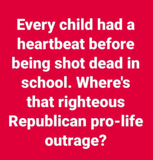 Life, School, and Pro: Every child had a  heartbeat before  being shot dead in  school. Where's  that righteous  Republican pro-life  outrage?