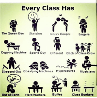 Memes, Sports, and Queen: Every Class Has  (1  The Queen Bec  Skctcher  InLuv Couple  Singers  Copying flachine Sports Guy Otferent  Back of Class Crew  Stressed.Out Gosslping Machines Kyperactivos Musicians  Out of Earth Hard Worker  Buies  Class 8unkers Which one's you ?😉