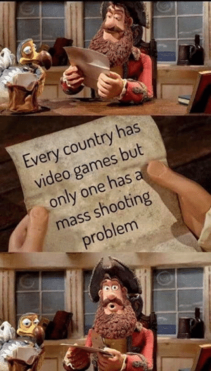 High quality bait: Every country has  video games but  only one has a  mass shooting  problem High quality bait