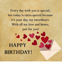 Start the day off wishing my Love a very happy birthday!!!! ILoveYou BlackLove SWYD SayHappyBirthday ItsHisDay ❤💙❤😍😍😍: Every day with you is special,  but today is extra special because  it's your day, my sweetheart.  With all my love and kisses,  just for you!  HAPPY  BIRTHDAY! Start the day off wishing my Love a very happy birthday!!!! ILoveYou BlackLove SWYD SayHappyBirthday ItsHisDay ❤💙❤😍😍😍