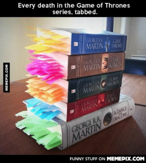 And there are two books left…omg-humor.tumblr.com: Every death in the Game of Thrones  series, tabbed.  GEORGERR  MARTIN  GAME  THRONES  GEORGERR  CIAN  MARTIN KINGS  GEORGE RR  MARTIN SWORDS  STORM  FEAST  GLORCERR  MARTIN CROWS  A DANCE  DRAGONS  GEORGER.R.  MARTIN  FUNNY STUFF ON MEMEPIX.COM  MEMEPIX.COM  MATMALINGNIT  LL.bNITY And there are two books left…omg-humor.tumblr.com
