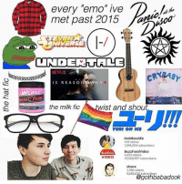 """Emo, Memes, and Netflix: every emo"""" ive  met past 2015  nNIVERSE  NETFLIX  3 REASO  N SAW H Y  MPLEED  ANI  ANIC  Mist and shout.  the milk fic  YURI ON OCE  A doddleoddle  149 videos  1,096,324 subscribers  BuzzFeed Video  BuzzFooo  4,233 videos  VIDEO  12,528,997 subscribers  shane  1,780 videos  9,652,632 subscribers OOPS THIS USED TO HARDCORE BE ME ~Kat 👌🏼"""