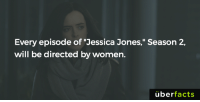 "Facts, Instagram, and Memes: Every episode of ""Jessica Jones,"" Season 2,  will be directed by women.  uber  facts https://www.instagram.com/uberfacts/"