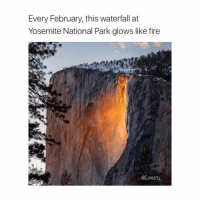 Help me hit 84k by Sunday!!! I'll post a spam of back to back posts if we do ❤️💚❤️: Every February, this waterfall at  Yosemite National Park glows like fire  @Learn Help me hit 84k by Sunday!!! I'll post a spam of back to back posts if we do ❤️💚❤️