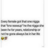 "Every female 😭🙌💯: Every female got that one nigga  that ""kno wassup"" he the nigga she  been fw for years, relationship or  not he gone always be in her life  100 Every female 😭🙌💯"