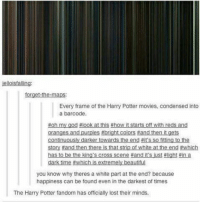 Harry Potter, Memes, and Movies: Every frame of the Harry Potter movies, condensed into  a barcode  dark time  you know why theres a white part at the end? because  happiness can be found even in the darkest of times  The Harry Potter fandom has officially lost their minds.
