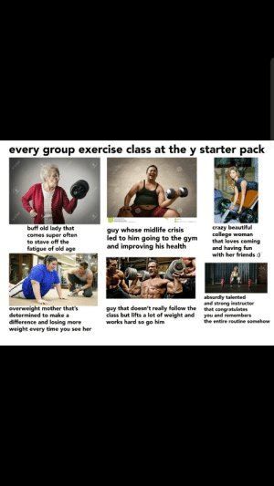 Good job, keep at it: every group exercise class at the y starter pack  123RF  En12SRE  buff old lady that  guy whose midlife crisis  comes super often  to stave off the  fatigue of old age  crazy beautiful  college woman  that loves coming  and having fun  with her friends :  led to him going to the  дym  and improving his health  absurdly talented  and strong instructor  that congratulates  you and remembers  the entire routine somehow  overweight mother that's  determined to make a  difference and losing more  weight every time you see her  guy that doesn't really follow the  class but lifts a lot of weight and  works hard so go him  I123RF  1298F Good job, keep at it