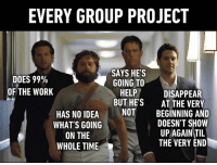 9gag, Dank, and Funny: EVERY GROUP PROJECT  DOES 99%  OF THE WORK  SAYS HE'S  GOING TO  HELP  BUT HE'S  DISAPPEAR  AT THE VERY  NOT BEGINNING AND  HAS NO IDEA  WHAT'S GOING  ON THE  WHOLE TIME  DOESN'T SHOW  UP AGAIN TIL  THE VERY END I'm the one who says I'm going to help. https://9gag.com/gag/aNWDwN4/sc/funny?ref=fbsc