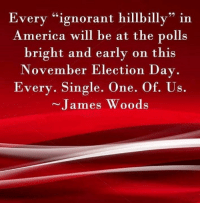 """James Woods: Every """"ignorant hillbilly"""" in  America will be at the polls  bright and early on this  November Election Day.  Every. Single. One. Of. Us.  James Woods"""