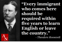 """English, Theodore Roosevelt, and Who: """"Every immigrant  who comes here  should be  required within  five years to learn  English or leave  the country.""""  Theodore Roosevelt"""