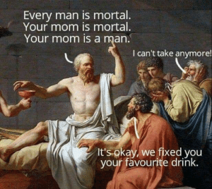 Go home, Socrates: Every man is mortal.  Your mom is mortal.  Your mom is a man.  I can't take anymore!  It's okay, we fixed you  your favourite drink. Go home, Socrates