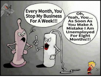Memes, Soon..., and 🤖: Every Month, You  oh,  Stop My BusinessYeah, You...  For A Week!!As Soon A  For A Week!!! /As Soon As  You Make A  Mistake I Am  Unemployed  For Eight  Months!!!  0
