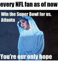 nfl fan: every NFL fan as of now  Win the Super Bowl for us,  Atlanta  You're our only hope