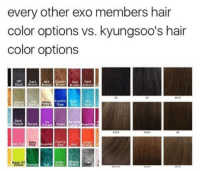 KYUNGSOO: every other exo members hair  color options vs. kyungsoo's hair  color options  Off Dark Geldened Dark  Black Brown Brown rown Brown Auburn  04  White  Electric Heon  Blue  Dark  Purple PurplePurple iolet Lila  UV  MagentaM  Cherry  Red Red  Neon UV  Bright Winter  Emerald Tea KYUNGSOO