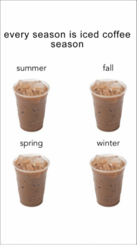 Fall, True, and Winter: every season is iced coffee  season  summer  fall  spring  winter This is so true for me https://t.co/zHzOigc0mG