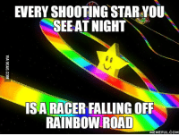 shooting star: EVERY SHOOTING STAR YOU  SEE AT NIGHT  IS A RACER FALLING OFF  RAINBOW ROAD  MEMEFUL COM
