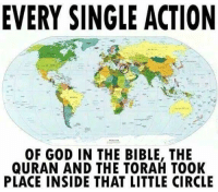God, Bible, and Quran: EVERY SINGLE ACTION  OF GOD IN THE BIBLE, THE  QURAN AND THE TORAH TOOK  PLACE INSIDE THAT LITTLE CIRCLE