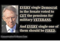 Fire, Memes, and Military: EVERY single Democrat  in the Senate voted to  CUT the pensions for  military VETERANS  And EVERY single one of  them should be FIRED.  ConservativeTribune.Com Fire them all.