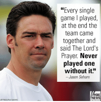 """On """"@foxandfriends,"""" former NFL cornerback Jason Sehorn denounced a court ruling against a Christian football coach who prayed with his team.: """"Every single  game l played,  at the end the  team came  together and  said The Lord's  Prayer. Never  played one  without it""""  - Jason Sehorn  FOX  NEWS  (AP Photo/Paul Spinelli) On """"@foxandfriends,"""" former NFL cornerback Jason Sehorn denounced a court ruling against a Christian football coach who prayed with his team."""