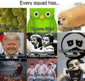 : Every squad has...  SEX!  SEX  UnironicallI WOuld  Horny fuck  The mom friend  bang Shrek  AmcricanscriarlrUntold childhood  Trummp supporter Theodor RobertBundy  traumas  nis  don't like  we  to talk  Benis.babe  about him