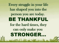 Life, Memes, and Struggle: Every struggle in your life  has shaped you into the  person you are today.  BE THANKFUL  for the hard times, they  can only make you  STRONGER...