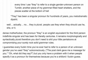 "Shit, Tumblr, and Blog: every time I use ""they"" to refer to a single gender-unknown person on  Tumblr, another piece of my grammar-filled heart shatters, and the  pieces scatter at the bottom of hel  They"" has been a singular pronoun for hundreds of years, you melodramatic  dipshit.  well. actually... no... they is plural. people use they when they should use he,  she, or it.  dense motherfucker, the pronoun ""they"" is an english equivalent for the third person  indefinite singular and has been for literally centuries. it remains morphologically and  syntactically plural therefore you don't need to shit your little pantaloons at  compromising your surely rock solid grammar rules.  i guarantee every fuckin time you've ever had to refer to a person of an unknown  gender you've used ""they"" subconsciously. (The post clerk gave me a message for  you."" ""Oh, what did they say?"") but you only have a problem with it when people  specify it as a pronoun for themselves because you're a shitlord i fuckin guess. awesomacious:  They had a problem with gender-neutral pronouns…"