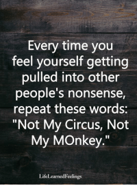 """Memes, Monkey, and Time: Every time you  feel yourself getting  pulled into other  people s nonsense  repeat these words:  """"Not My Circus, Not  My MOnkey  LifeLearnedFeelings <3"""