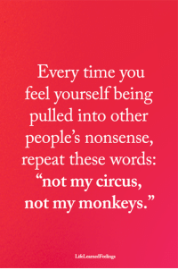 "Memes, Time, and Nonsense: Every time you  reel yourself being  pulled into other  people's nonsense,  repeat these words:  ""not my circus,  not my monkeys.""  05  LifeLearnedFeelings <3"