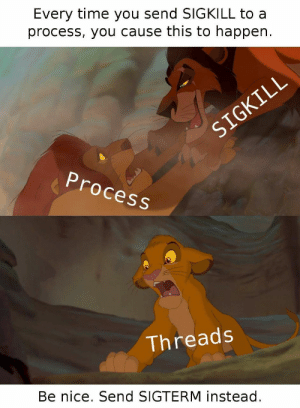 Time, Nice, and Threads: Every time you send SIGKILL to a  process, you cause this to happen.  d-  Process  Threads  Be nice. Send SIGTERM instead killall -9