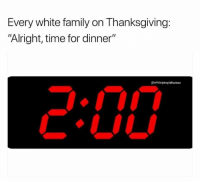 """Family, Thanksgiving, and Time: Every white family on Thanksgiving:  """"Alright, time for dinner""""  @whitepeoplehumor"""