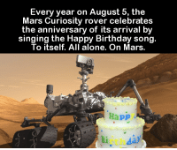 happy birthday song: Every year on August 5, the  Mars Curiosity rover celebrates  the anniversary of its arrival by  singing the Happy Birthday song.  To itself. All alone. On Mars.  Happ  day