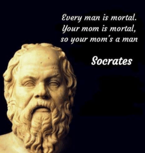 Dude, Moms, and History: Every  your mom is mortal,  so your mom's a man  man is mortal.  Socrates Yer mum's a dude