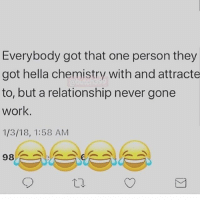😣😣😣😣😂😂❤: Everybody got that one person they  got hella chemistry with and attracte  to, but a relationship never gone  work  1/3/18, 1:58 AM 😣😣😣😣😂😂❤