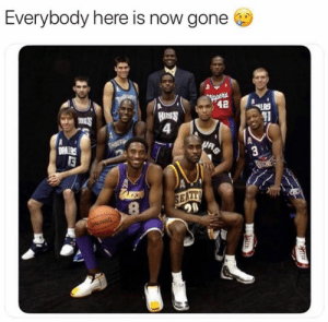 Nba, Gone, and Photo: Everybody here is now gone  tl  90 Everyone in this photo has now officially retired 😔