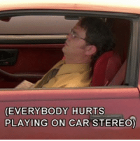 Car, Stereo, and Hurts: EVERYBODY HURTS  PLAYING ON CAR STEREO)