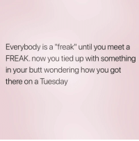 """Butt, On a Tuesday, and Wednesday: Everybody is a """"freak"""" until you meet a  FREAK. now you tied up with something  in your butt wondering how you got  there on a Tuesday And next thing ya know it's Wednesday"""